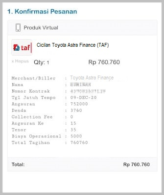 cek tagihan Toyota Astra Finance online
