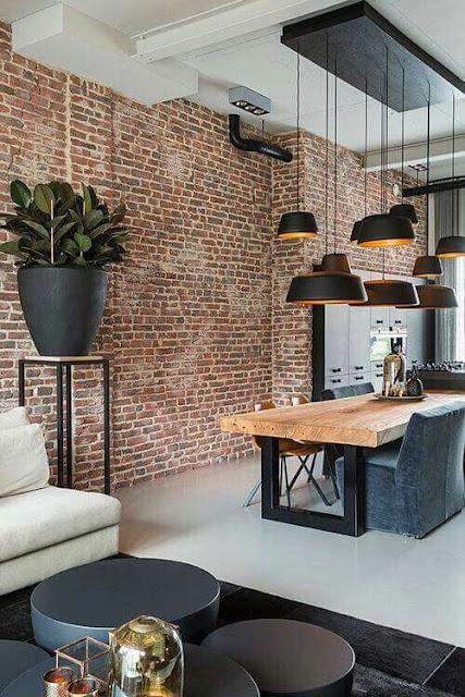 Loft moderno com papel de parede de tijjolinhos