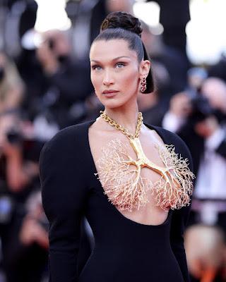 Bella Hadid Cannes 2021 schiaparelli dress with gold