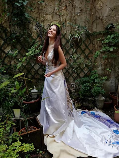 Robe de mariée Agapanthe, peinte à la main