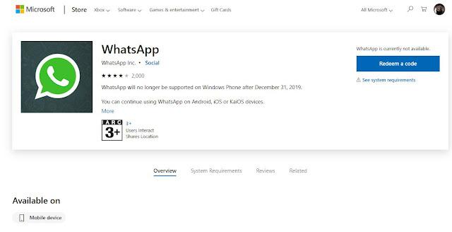واتساب يزيل تطبيقه على Windows Phone من متجر Microsoft