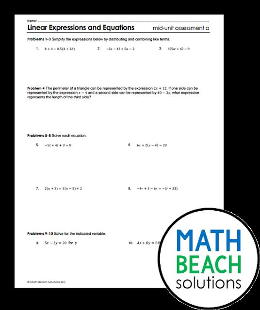 Texas Algebra 1 Mid Unit Assessment