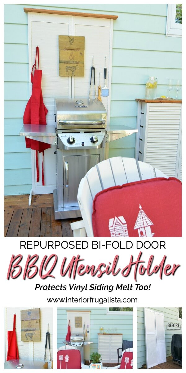 How to hide unsightly outdoor house vents with repurposed wooden louvered bifold doors into a DIY outdoor bar table plus BBQ grilling utensil holder. #repurposedbifolddoor #repurposedlouvereddoor #BBQutensilholder