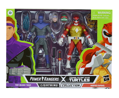 Mighty Morphin Power Rangers x Teenage Mutant Ninja Turtles Lightning Collection Red Ranger Raphael & Foot Solider Tommy Oliver Action Figure 2-Pack by Hasbro