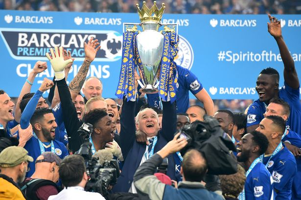 Leicester City celebrating their first EPL Title