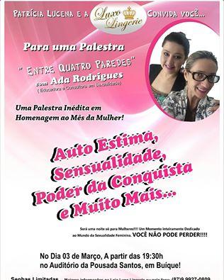 20fd4ca15 Auto estima e sensualidade serão os principais temas de palestra em Buíque