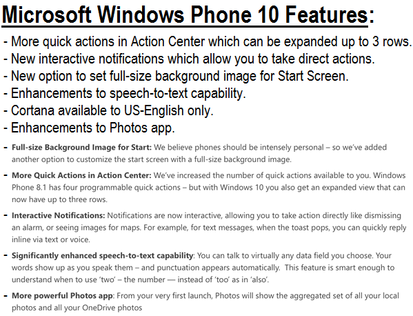 Windows 10 for Phones Features