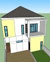 Desain Rumah Kost 2 lantai 5m x 20m