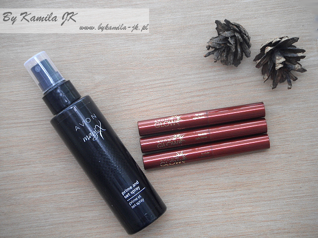 Avon Spray utrwalający makijaż Magix szminki Glow Nude Sand Sunset Pink Caribbean Coral