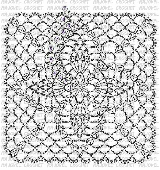 Patron punto floral Majovel crochet