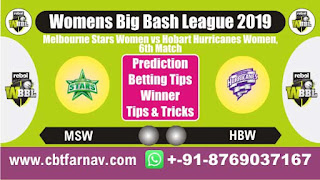 WBBL 2019 HBW vs MSW 6th Today Match Prediction Womens Big Bash League 2019