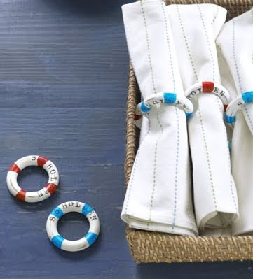 red white blue nautical napkins rings