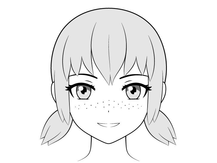 Bintik-bintik anime di seluruh gambar wajah