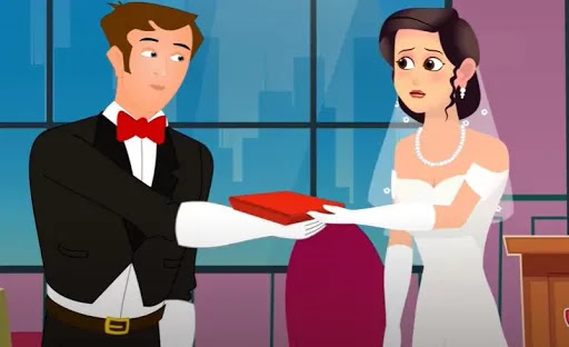 English story, necklace gift in  marriage  day, The story of the necklace gift in marriage