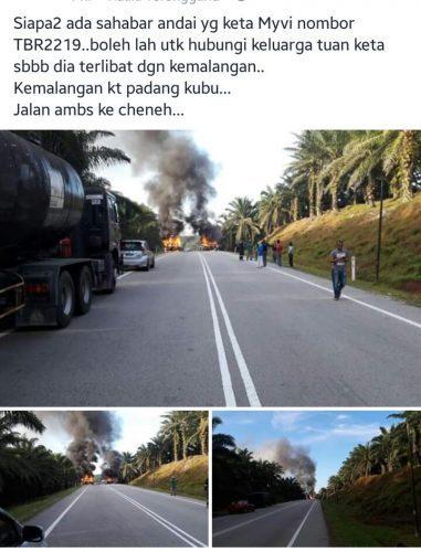 kemalangan kereta persona dan myvi km 118, gambar kemalangan kereta di jabor