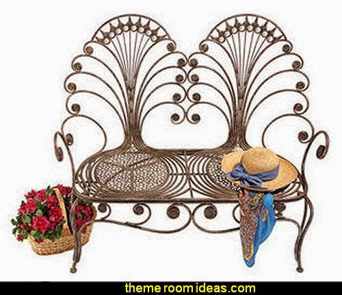 Grand Peacock Metal Garden Loveseat Bench