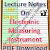 Electronic Measuring Instrument Notes PDF Download