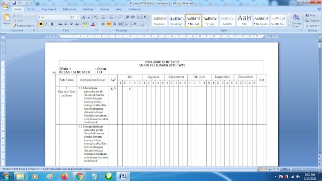 Contoh Promes PJOK Kelas 1 SD Semester 1 Kurikulum 2013 Revisi Terbaru