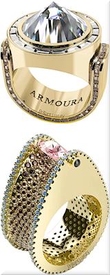 ♦Armoura Zultanite diamond spike ring & Chasm pink marquise diamond brown diamonds and aquamarines ring in 18k yellow gold #jewelry #armoura #brilliantluxury