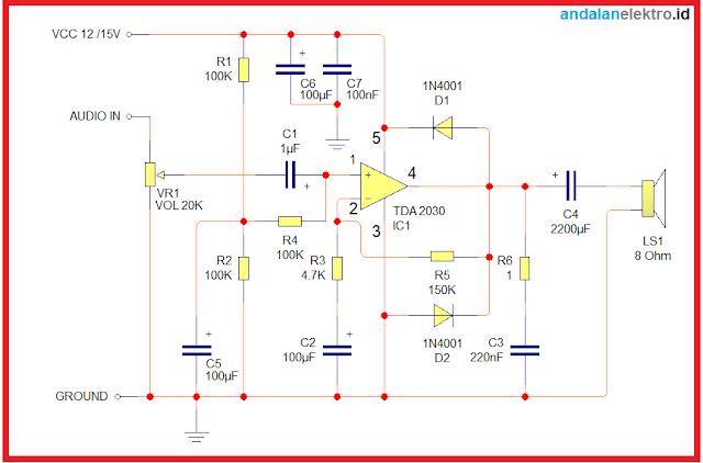 Skema rangkaian power amplifier TDA 2030 watt dengan tone control sederhana