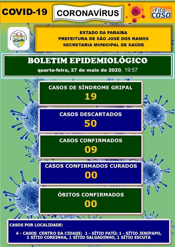 BOLETIM CORONA-VÍRUS (São José dos Ramos): Fique informado sobre atualizações em sua cidade. (27/05/2020).