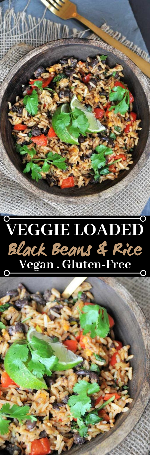 Veggie Loaded Black Beans and Rice #vegetarian #dinner
