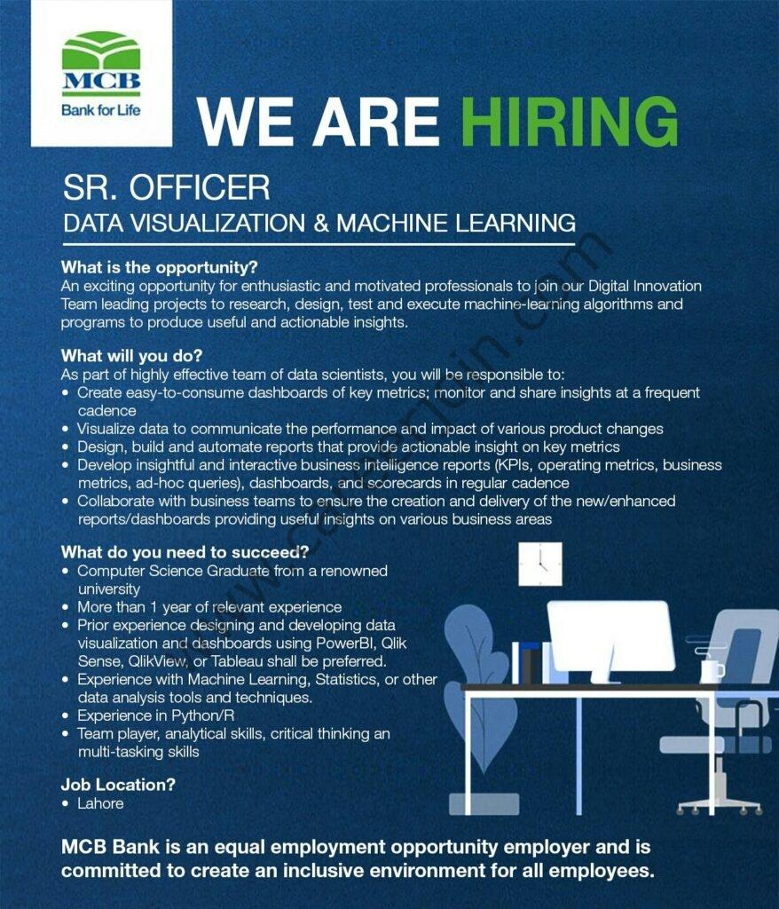 MCB Bank Limited Jobs Senior Officer Data Visualization & Machine Learning
