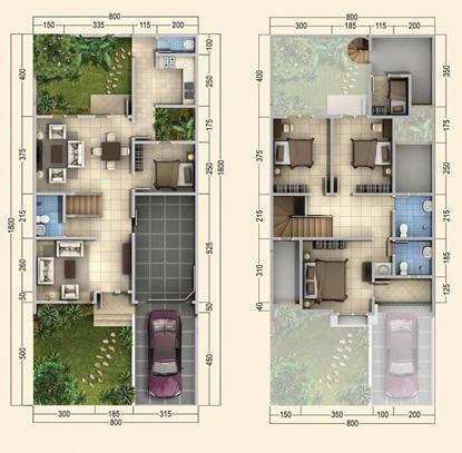 lingkar warna: denah rumah minimalis ukuran 8x18 meter 5
