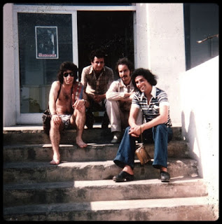 Elmanar hotel in Sidi Ferruch, Algeria. Makhlouf (left) and Mahdi (right), during Syphax group 1978 tour.