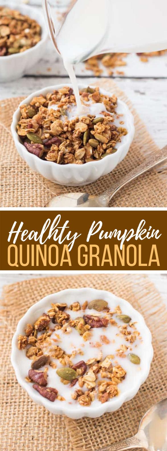 Healthy Pumpkin Quinoa Granola #breakfast #lowfat