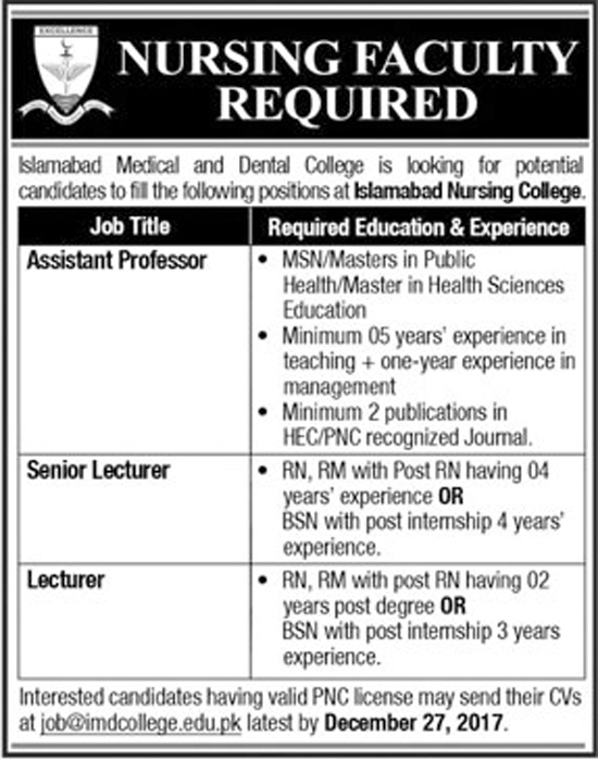 Jobs In Islamabad Medical and Dental College Dec 2017
