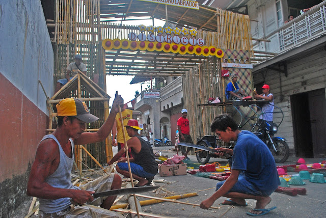 baluarte structures made of bamboo are prepared first before decorating it with the araña