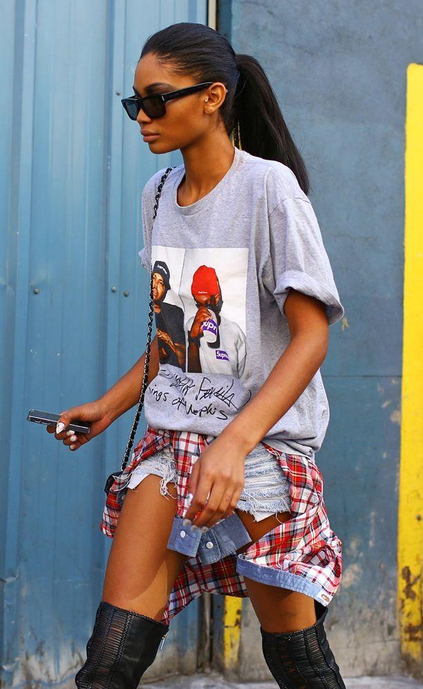 Street Style: Chanel Iman Wears a Supreme Tee