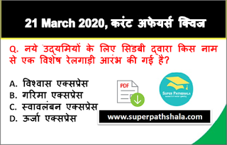 Daily Current Affairs Quiz in Hindi 21 March 2020