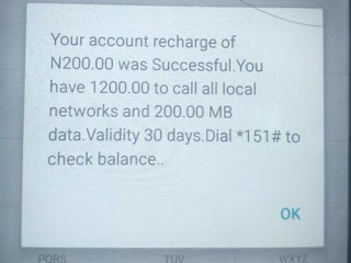 Screenshot showing successful recharge of 200 Naira airtime with 1200 Naira bonus to call all networks and free 200MB data for 30 days