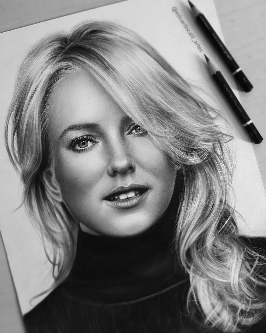05-Naomi-Watts-Eduardo-Calil-Celebrity-Portrait-Drawings-Color-and-Black-and-White-www-designstack-co
