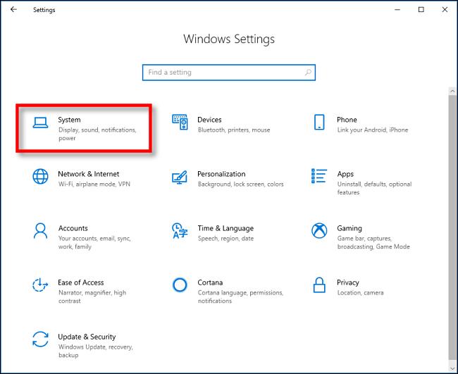 """انقر فوق """"النظام"""" في """"إعدادات Windows"""" على Windows 10."""