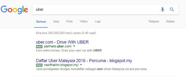 Iklan UBER yang muncul sewaktu pengguna mencari maklumat di enjin carian Google