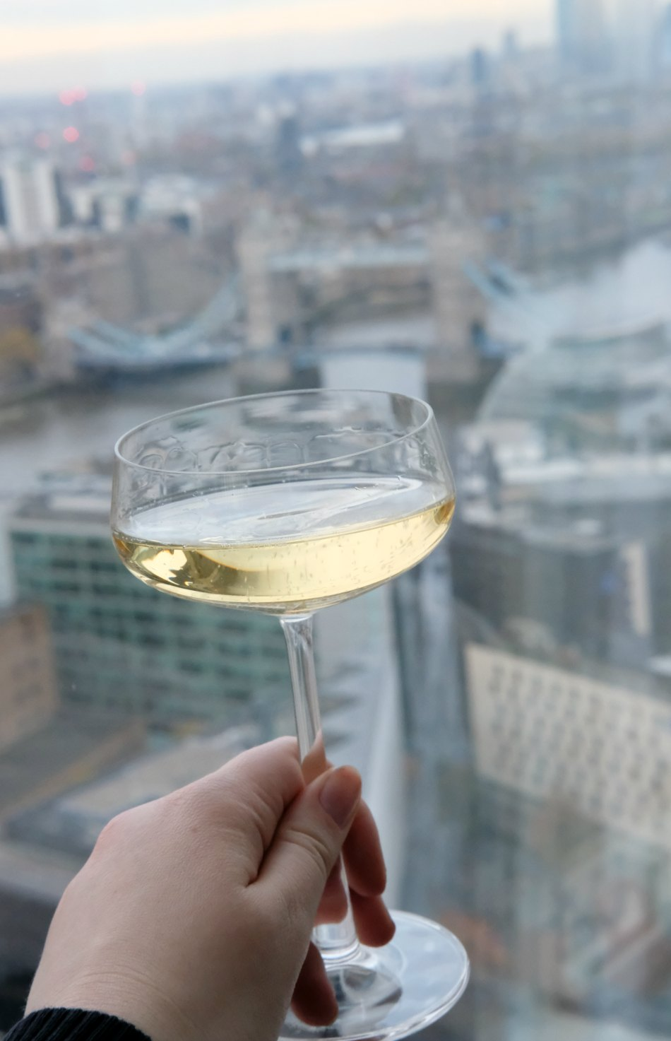 Champagne in-front of London skyline and Tower Bridge