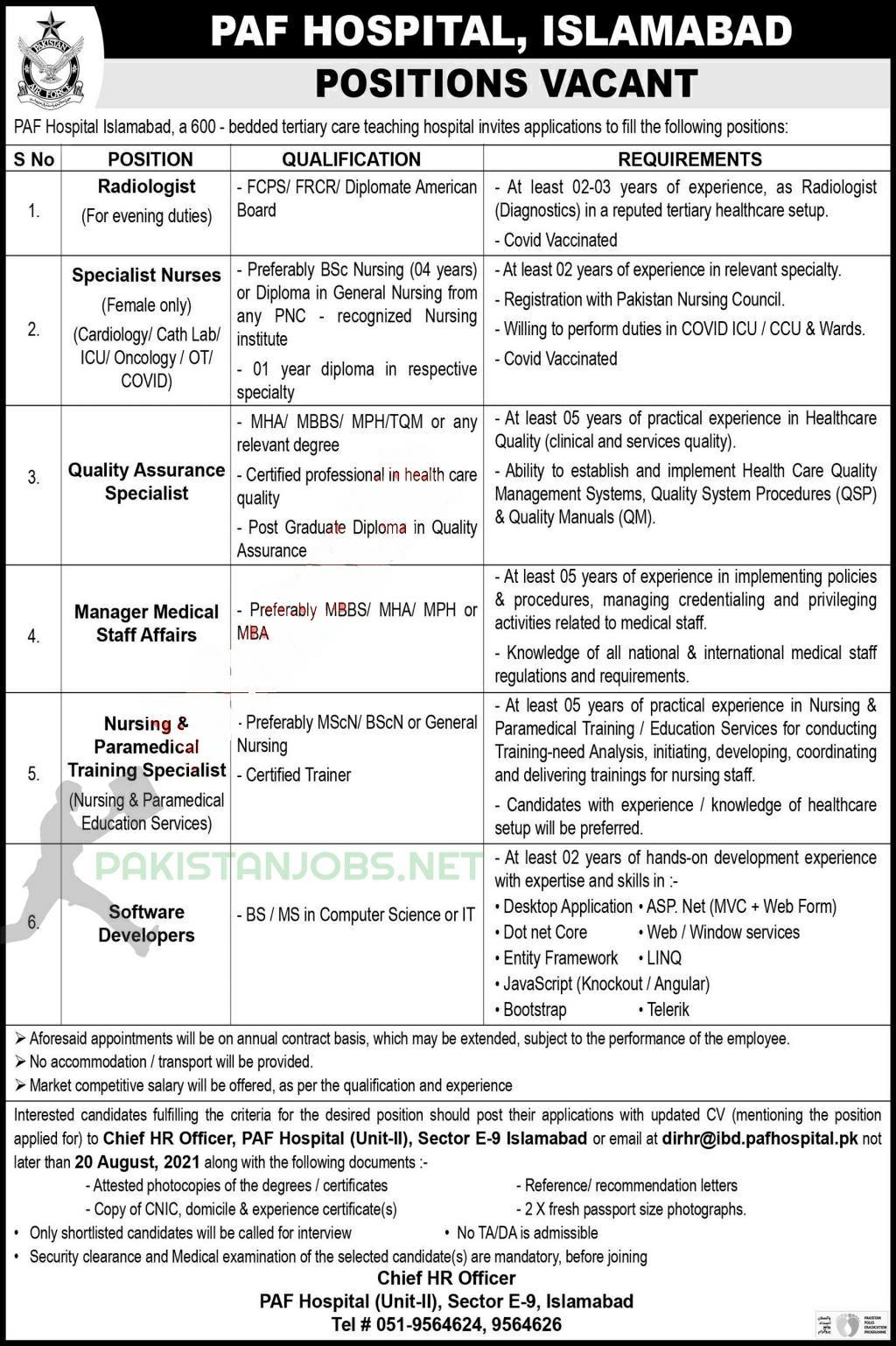 PAF Hospital Job Updates 2021 Latest