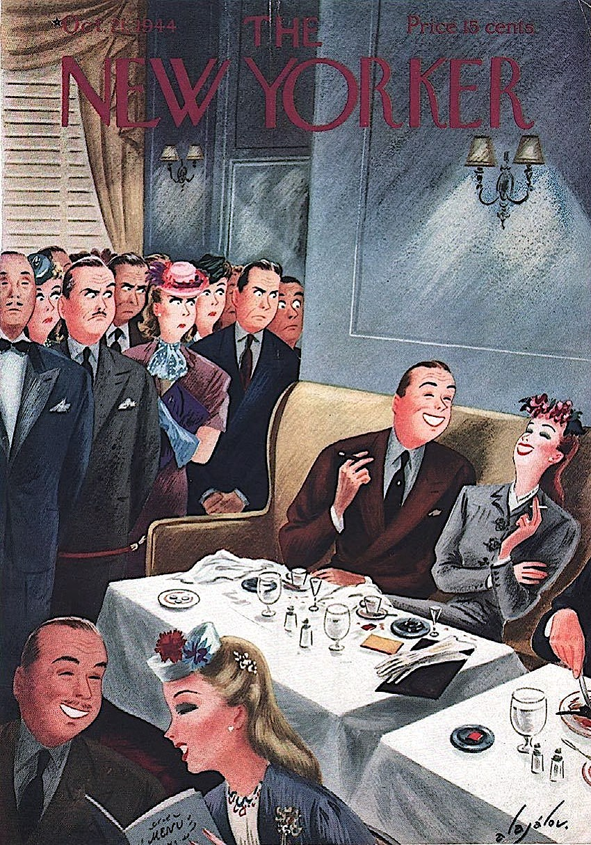 a Constantin Alajalov illustration for The New Yorker October 1944, table dawdlers in a busy restaurantt