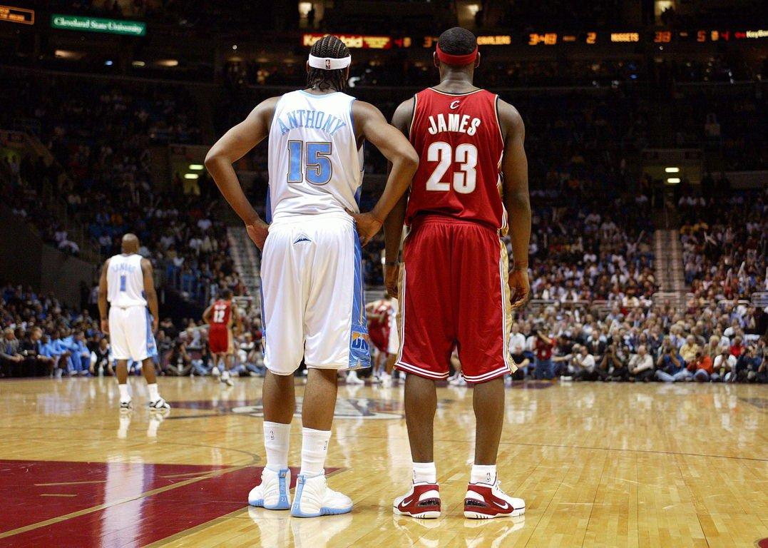 super popular b646f 9a20e Lebron James VS Carmelo tonight at MSG (Throwback 03 Lebron rocking the Nike  Zoom Generation Lebron and Melo rocking the Air Jordan 12 Melo PE)