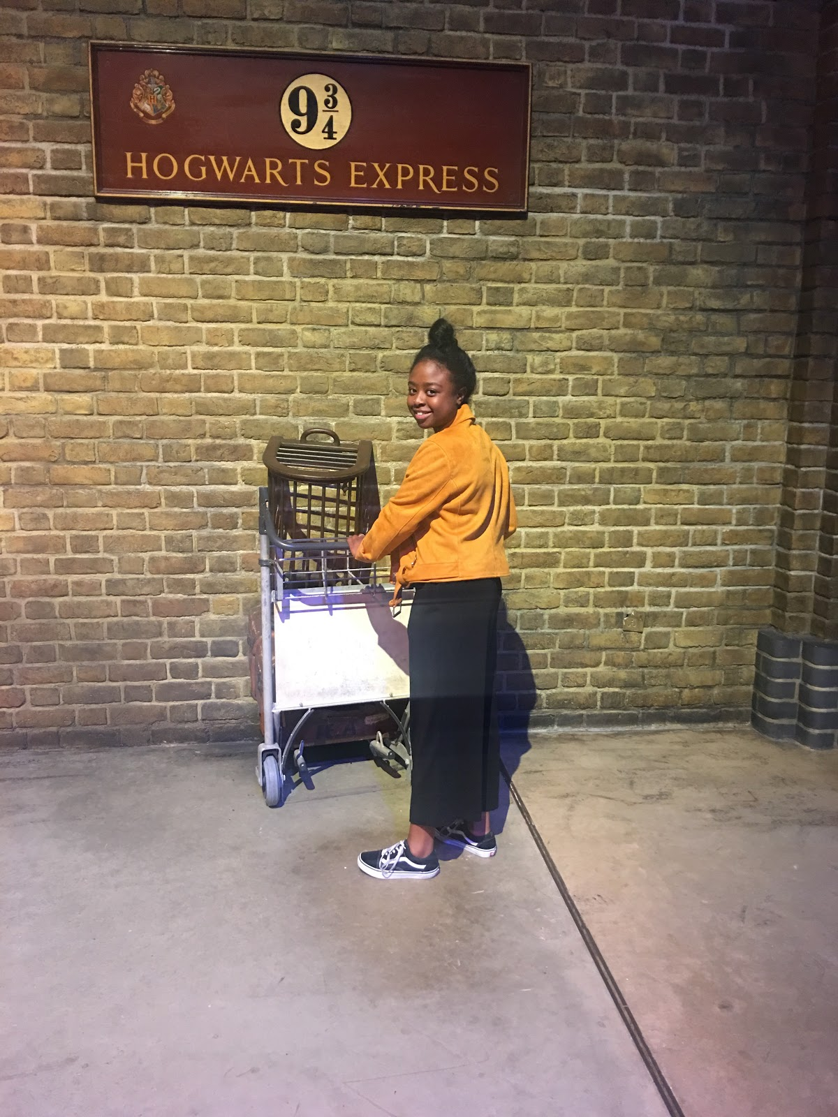Pushing a trolley into platform 9 3/4 at Harry Potter studios