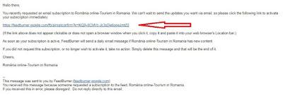 Confirmati abonarea prin email la ghidul turistic România online - Tourism in Romania.