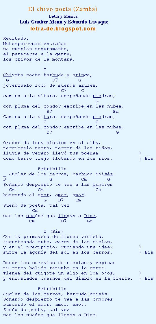 Letras y acordes de la zamba El chivo poeta
