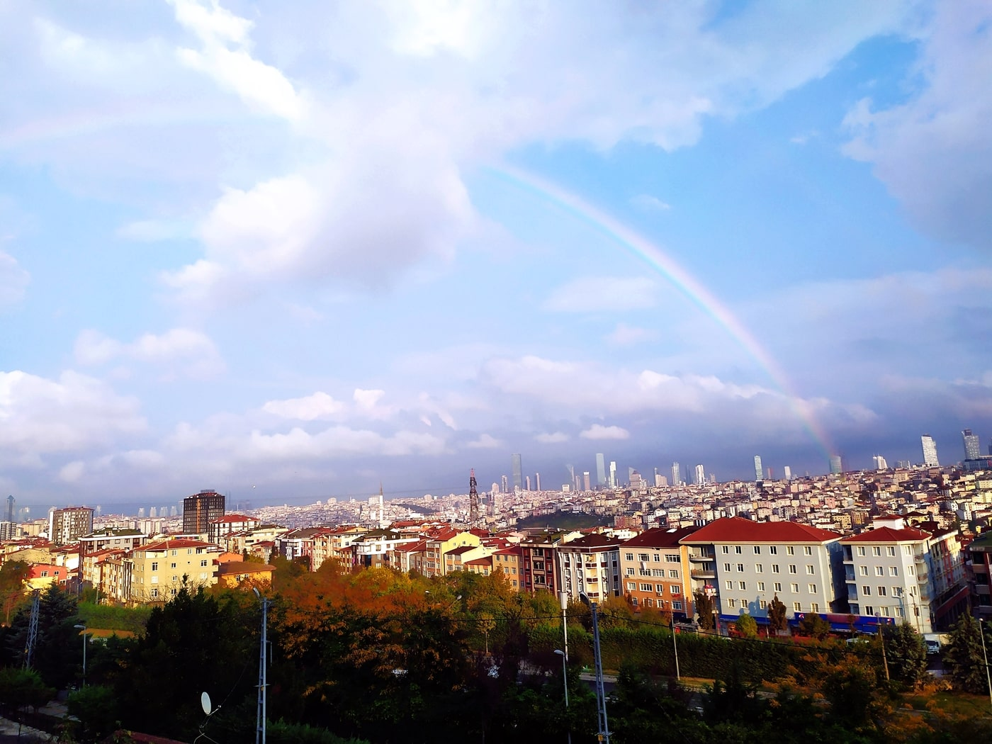 Rainbow, Cloudy Skies, Towers, Buildings