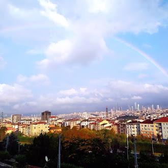 Rainbow, Cloudy Skies, Towers, Buildings