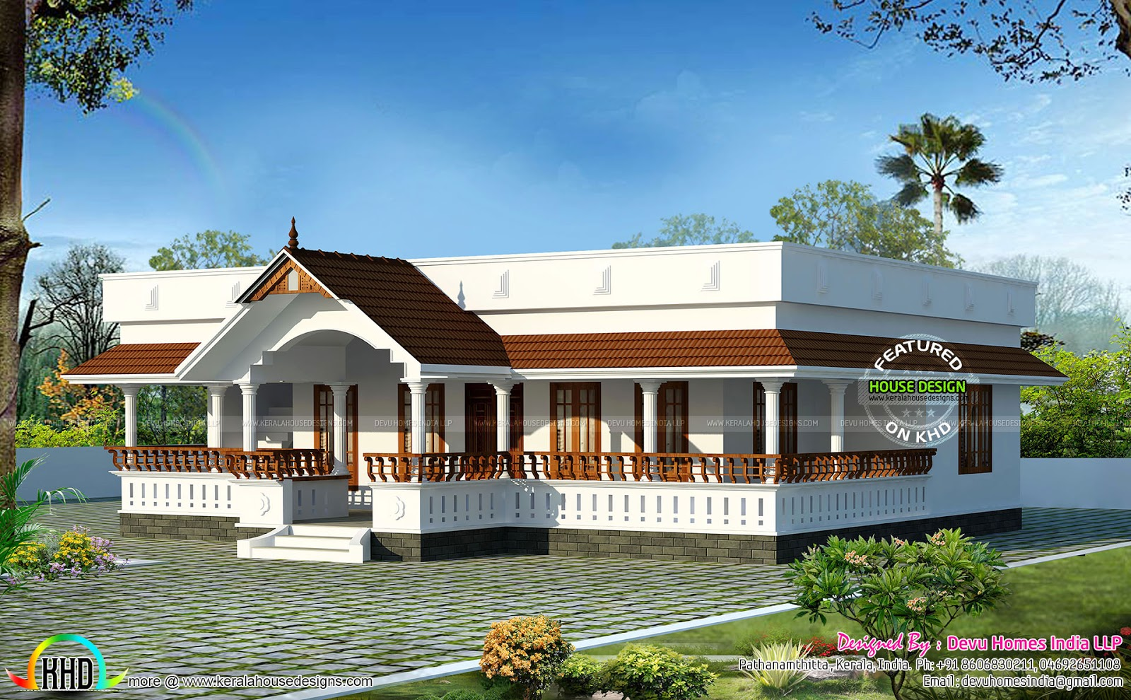 Traditional single floor home kerala home design and for Kerala style single storey house plans