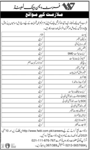 http://www.fwbl.com.pk/careers Jobs 2021 - First Women Bank Limited FWBL Jobs 2021 in Pakistan - www.fwbl.com.pk Jobs 2021