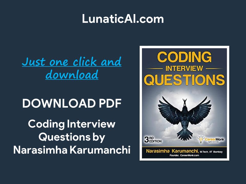 Download Coding Interview Questions Narasimha Karumanchi 3rd Edition PDF